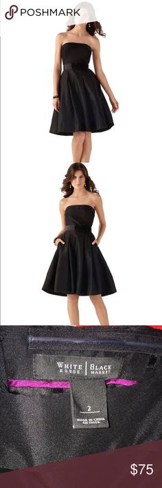 Black Strapless Dress Black House White Market Black Strapless Dress Comes with a black flower belt (as shown in picture) and purple flower belt. White House Black Market Dresses Strapless