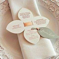 Double Duty Menu Cute, flower-shaped menus doubled as place cards. Wedding Party Invites, Wedding Menu Cards, Wedding Napkins, Wedding Stationary, Wedding Table, Wedding Reception, Reception Ideas, Party Favors, Wedding Rings
