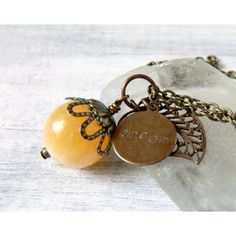 Yellow Calcite Gemstone Rustic Leaf Necklace Citrine Yellow Necklace... ($32) ❤ liked on Polyvore featuring jewelry, pendants, gemstone pendants, leaf jewelry, boho jewelry, leaf charms and gem jewelry