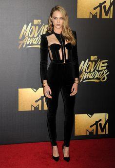Cara Delevingne in Balmain at the MTV Movie Awards 2016 [Photo: Broadimage/REX/Shutterstock]