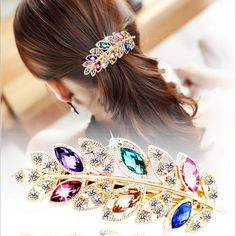 1.38$  Watch here - http://aliwm0.shopchina.info/go.php?t=32783268222 - Fashion Elagant Women HairClip Korean Exquisite Leaf Crystal Rhinestone HairClip Barrette Party Wedding Hairpin hair Accessories 1.38$ #magazineonlinewebsite