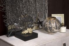 Lifestyle Image of Textured Jar with Gold Lustre Trickle, Photo Credits - The Sofa and Chair Company
