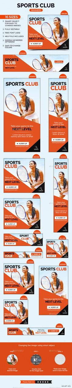 Sports Club Banners - Banners & Ads Web Template PSD. Download here: http://graphicriver.net/item/sports-club-banners/10671069?s_rank=1778&ref=yinkira