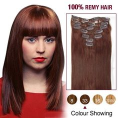 16 Inch 7pcs Straight Indian Clip In Remy Hair Extensions (#33 Dark Auburn) 70g