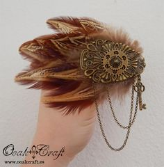 "Ooak☥Craft - Steampunk style pheasant feather headpiece  'Fly, my gear' > Tocado de estilo steampunk con plumas de faisán ""Fly, my gear"""