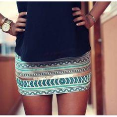 skirt, tribal, aztec akirt short skirt black teal aztec skirt gold