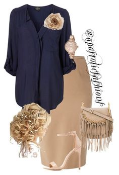 A fashion look from September 2017 featuring knee length pencil skirts, charlotte russe sandals and gray handbags. Browse and shop related looks. Komplette Outfits, Cute Girl Outfits, Classy Outfits, Pretty Outfits, Beautiful Outfits, Casual Outfits, Fashion Outfits, Cute Fashion, Modest Fashion