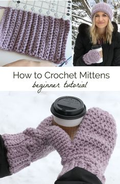 Learn how to crochet mittens! These basic mittens are simple to make because of the step by step video tutorial from Melanie Ham. Keep your hands warm this winter with cozy yarn mittens! Crochet Mitts, Crochet Mittens Free Pattern, Crochet Gloves, Crochet Yarn, Easy Crochet, Crochet Hooks, Free Crochet, Crochet Patterns, Beginner Crochet