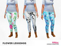 Clothing: 3 Flower Leggings by ELR Sims from The Sims Resource • Sims 4 Downloads
