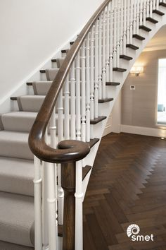 Looking for a new staircase to match your contemporary interior? We specialise in bespoke hardwood staircases and offer a second to none service from design to installation. Visit our website and be inspired! Stained Staircase, Wooden Staircase Railing, Staircase Runner, House Staircase, Stair Railing Design, Wooden Stairs, Staircase Ideas, Edwardian Staircase, Edwardian House