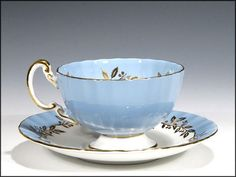 Blue Aynsley Cup and Saucer with Violets at the Bottom - English Bone
