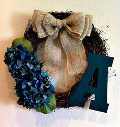 Teal Hydrangea Monogrammed Wreath - initial Wreath - Monogram Wreath - Rustic Wreath - Wreath - Fall Wreath - Door Wreath on Etsy, $42.00