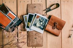 Leather polaroid cases we made for our friends from Mester Weddings.