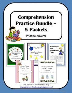 This Comprehension Practice Bundle includes 5 packets to help students strengthen comprehension skills. *Note; Please see preview to view a picture sample of the more pages included. Sorry, but the picture files were to large. Comprehension Practice Pages - This is a good packet for beginning/young readers.