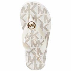 93f9025b924637 NEW Women's MICHAEL KORS Jet Set 15 Vanilla White Flip Flop Sandal MK Logo  SZ 5