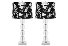 One Kings Lane - Style Your Bedroom - Glass-Ball Table Lamp Set, Floral