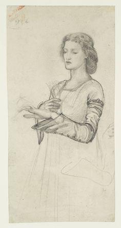 Sir Edward Coley Burne-Jones, Bt, 'Study of Iseult for 'The Marriage of Sir Tristram'. Verso: Figure of Sir Tristram' c.1862