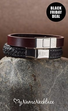 Trying to find just the right Christmas gift for your man? Our Personalized Men's Leather Bracelets are what you're looking for! Treat him too this Black Friday