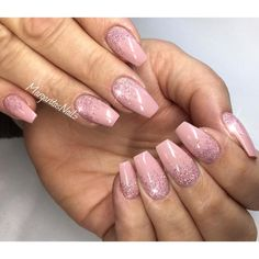 Nude Glitter ombré spring nails 2016