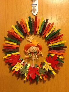 Fall harvest clothespin wreath by BuckysCrafts on Etsy