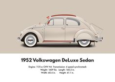 VW Beetle 1952 split window deluxe sedan