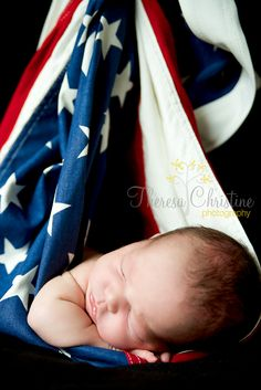 Newborn Photography with American flag.