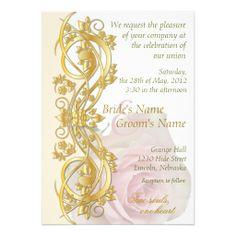 Elegant Scroll Wedding Invitation - Gold & Rose -1