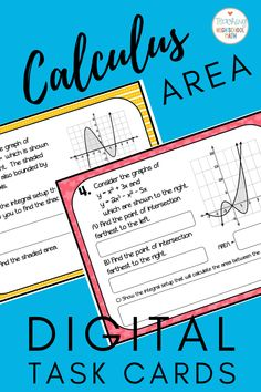 This is a set of 10 task cards that can be used for your students to practice finding the area between curves.  Digital - use google slides. Chemical Engineering, Electrical Engineering, College Board, Business Education, Calculus, Energy Technology, Alternative Energy, Information Technology, Business Management