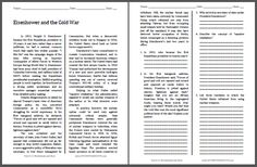 Eisenhower and the Cold War - Free Printable American History Reading with Questions for Grades 9-12