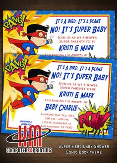 Super Hero Baby Shower Invitations PRINTED Matte by KmPrinting, $1.00