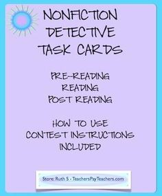 Help your students become familiar with nonfiction as they use these cards. Can be used with any nonfiction text! Great conversation piece for parent/teacher conferences! priced item by gayle