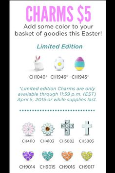 Origami Owl 2015 Easter Charms are HERE!!