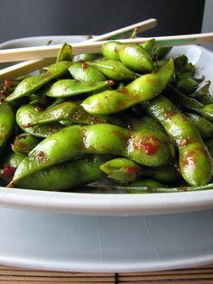 Yummy snack!  Edamame with Chili and Garlic