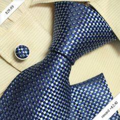 Blue checkers designer mens ties personalized gift mens style silk necktie cufflinks hanky set H5142