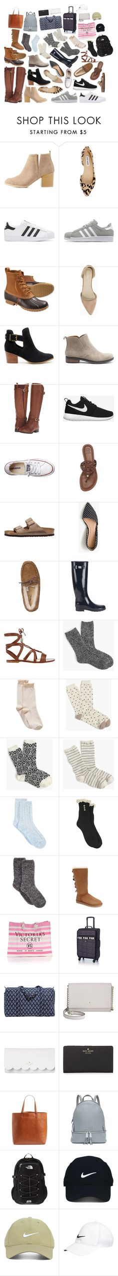 """shoes, socks, bags, hats"" by thatprepsterlibby ❤ liked on Polyvore featuring Charlotte Russe, Steve Madden, adidas Originals, L.L.Bean, Nly Shoes, Sole Society, Lucky Brand, Naturalizer, NIKE and Converse"