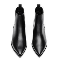 Acne Studios Jensen black boots offer a contemporary take on the classic Chelsea boots. They're crafted to a pointed toe from calf leather and accented with silver-tone hardware and block heels. Black Chelsea Boots, Chelsea Ankle Boots, Leather Chelsea Boots, Black Leather Boots, Leather Booties, Pointed Chelsea Boots, Real Leather, Pointy Boots, Black Ankle Booties
