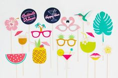 Fun Cocktail and Dreams photo booth props. Where Happy Hour meets Tropicana.  Suits a Tropical/Hawaiian Luau themed party, Bridal Shower or Bachelorette Party/Hens Night.  ✁ - - - - - - - - - - - - -  Cocktails and Dreams - Photo Booth Printable (15 piece set) includes:  Pineapple Drink Happy Hour Sign Cocktails and Dreams Sign Coconut Drink Cocktail Frangipani Hummingbird Sunkist Lips Palm Tree Leaf Palm Tree Sunglasses Pineapple Sunglasses Flamingo Sunglasses Watermelon Martini Hi...