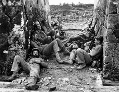 Marines of the 6th Division sleeping between battles on Okinawa, 29 May 1945.