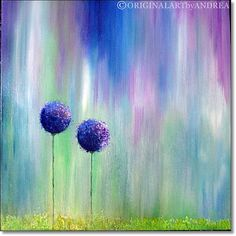 Acrylic Painting Canvas Art Abstract CONTEMPORARY ART ORIGINAL Textured Floral Landscape Art Blue Purple Green 24x24x1,5 (60cmx60cmx3,6cm)