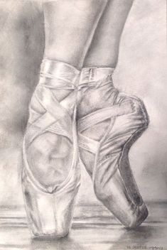 shoe draw Ballet shoes Pencil drawing: Madeleine K - shoetrend Ballerina Drawing, Ballet Drawings, Dancing Drawings, Art Drawings Sketches, Cute Drawings, Pencil Drawings, Ballet Painting, Ballet Art, Pointe Shoes Drawing
