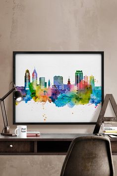 Philadelphia skyline, watercolor Philadelphia, Art Print, Philadelphia poster, Pennsylvania cityscape, City Wall art, Artwork, Home Decor,