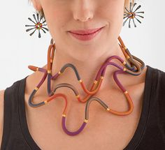 Warm Striped Squiggle Necklace by Steven Ford and David Forlano: Polymer Clay Necklace available at www.artfulhome.com