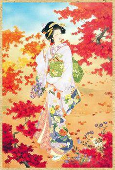 Comme vous l'aurez remarqué j'aime la peinture Asiatique, surtout celle qui représentent les femmes en tenues traditionnelles... ce que j'ai particulièrement aimé dans ces peintures c'est le chatoyant des couleurs ... Voici une série de jeunes femmes...