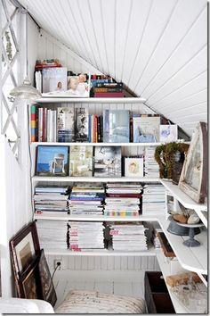 Book & magazine storage in closet