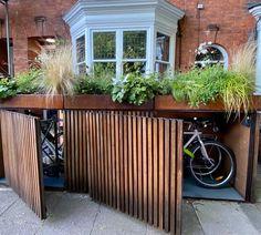 Site Preparation, Bikebox, Planting and Irrigation - Bikebox London | Bikebox Works Garden Bike Storage, Outdoor Bike Storage, Bicycle Storage, Victorian Front Garden, Carport Modern, Bin Shed, Backyard Garden Design, Outdoor Areas, House Front