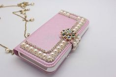 Leather Case, Leather Wallet, Mobile Craft, Mobile Covers, Cell Phone Accessories, Iphone Cases, Bling, Pearls, Phone Covers