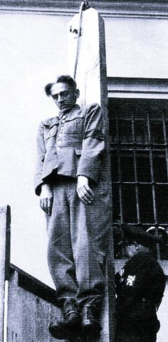 Karl Herman Frank hanging from the neck in Prague, 1946, for his role in organizing the massacres of the people of the Czech villages of Lidice and Ležáky. He was the Higher SS and Police Leader and Secretary of State of the Reich Protectorate of Bohemia and Moravia.