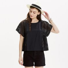 Geometric eyelet lace meets crisp cotton in this swingy shirt with built-in air conditioning (pop it on over a tank for a touch more coverage). Boxy-cool and just a bit sculptural, this top is feminine without being fussy. <ul><li>True to size.</li><li>Cotton.</li><li>Machine wash.</li><li>Import.</li></ul>