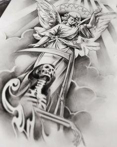 Chicanas Tattoo, Money Tattoo, Tattoo Design Drawings, Tattoo Sketches, Dove Tattoos, Statue Tattoo, Christian Tattoos, Angel Tattoo Designs, Tattoo Project