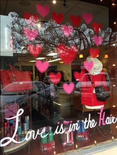 Love is in the Hair! front window display Divine Salon & Spa  Ripon, Ca